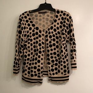 The Limited Tan and Black Polka Dot Style Sweater